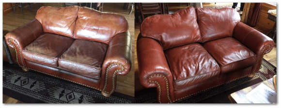 Restored Leather Love Seat