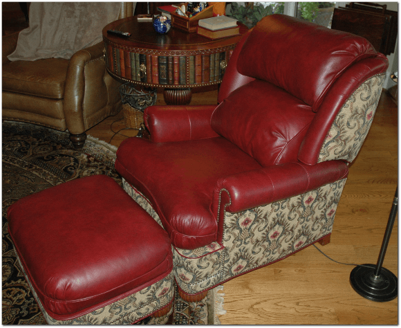 Redleather Chair Ot Re-Upholstry