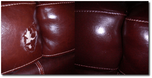 Repaired hole in Leather