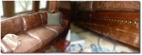 Worn Brown Sofa
