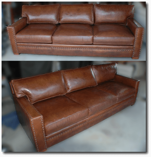 Restored Brown Leather Sofa