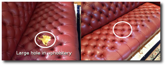 hole in upholstery
